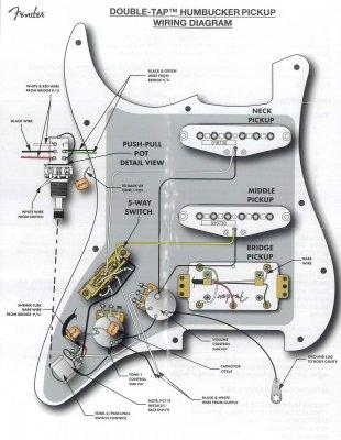 Push pull tone pot value on HSS Strat wiring   Fender Stratocaster Guitar  Forum   Spli Hss Guitar Wiring Diagram Coil      Strat-Talk