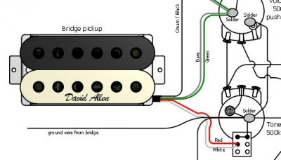 For a split humbucker to push pull pot 3 wire stock pup